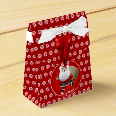 Cute Santa Claus With a Sack Full of Gifts Favor Box