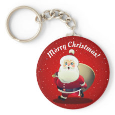 Cute Santa Claus With a Sack Full of Gifts Keychain