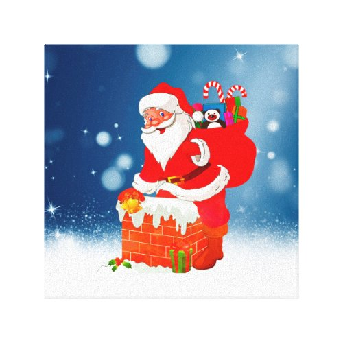 Cute Santa Claus with Gift Bag Christmas Snow Star Canvas Print