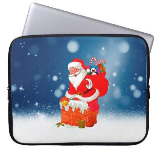 Cute Santa Claus with Gift Bag Christmas Snow Star Computer Sleeve
