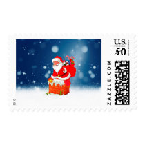 Cute Santa Claus with Gift Bag Christmas Snow Star Postage
