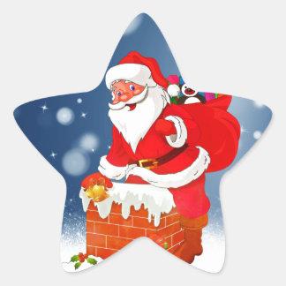 Cute Santa Claus with Gift Bag Christmas Snow Star Star Sticker
