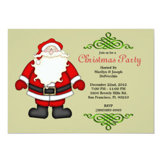 CUTE Santa Claus With Green Border Invite