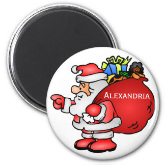 Cute Santa Claus With Toy Bag Christmas 2 Inch Round Magnet