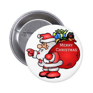 Cute Santa Claus With Toy Bag Christmas Buttons