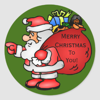 Cute Santa Claus With Toy Bag Christmas Classic Round Sticker