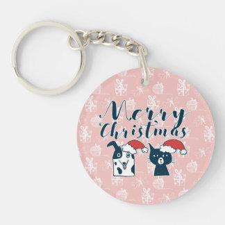 Cute Santa Dog & Cat Illustration Christmas Keychain