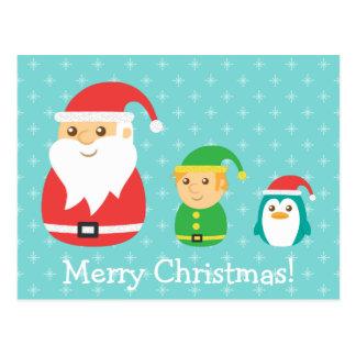 Cute Santa, Elf and Penguin, Merry Christmas Postcard