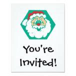 "cute santa face 4.25"" x 5.5"" invitation card"
