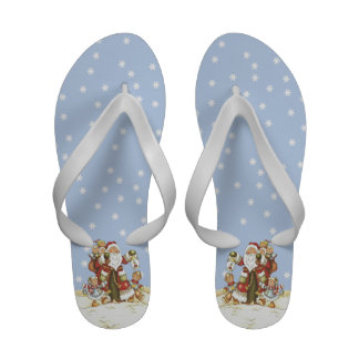 Cute Santa Folk Art Kids Christmas Snowflakes Sandals