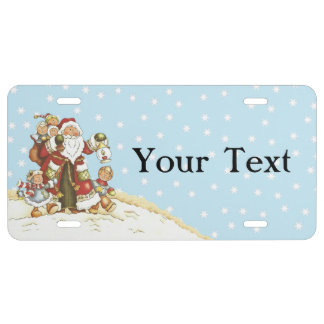 Cute Santa Folk Art Kids Christmas Snowflakes License Plate