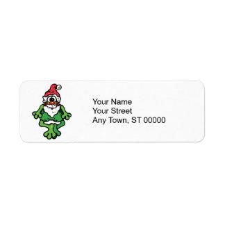 cute santa frog return address label