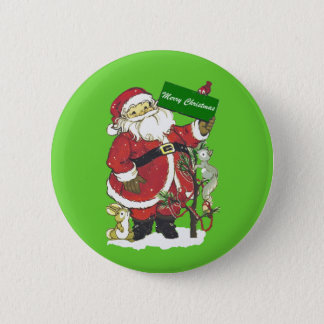 Cute Santa Furry Animals Merry Christmas Button