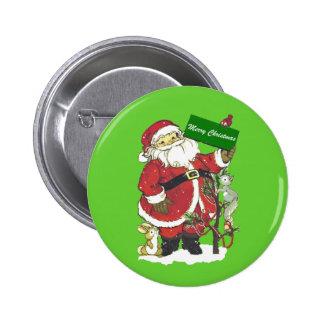 Cute Santa Furry Animals Merry Christmas Pinback Button