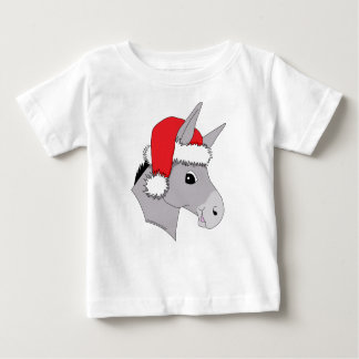 Cute Santa Hat Christmas Donkey Baby T-Shirt