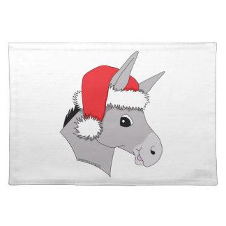 Cute Santa Hat Christmas Donkey Cloth Placemat
