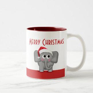 Cute Santa Hat Elephant Red Mug