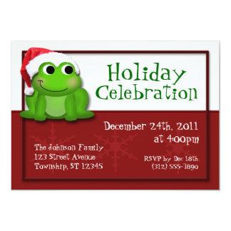 Cute Santa Hat Froggy Holiday Party Invitations