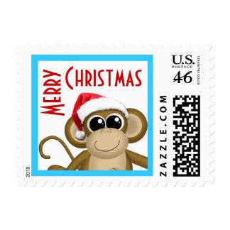 Cute Santa Hat Monkey - Postage Stamps