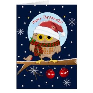Cute Santa hat Owl & custom text Card