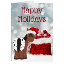 Cute Santa Horse n Gifts Happy Holidays Christmas Card