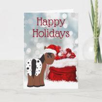 Cute Santa Horse n Gifts Happy Holidays Christmas Holiday Card
