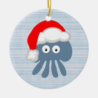 Cute Santa Jellyfish Ceramic Ornament