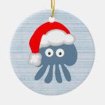 Cute Santa Jellyfish Double-Sided Ceramic Round Christmas Ornament