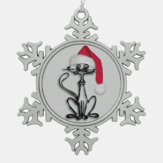 Cute Santa Kitty Cat Pewter Snowflake Ornament