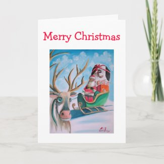 Cute Santa Merry Christmas Holiday Card