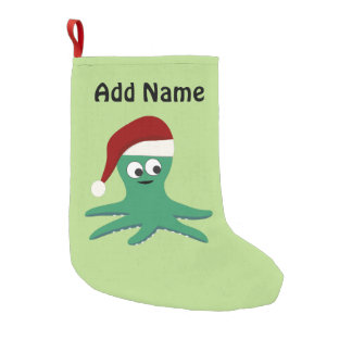 Cute Santa Octopus Small Christmas Stocking