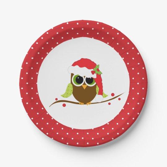 Christmas Paper Plates.Cute Santa Owl Christmas Party Paper Plates