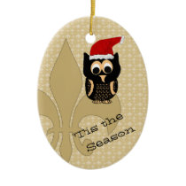 Cute Santa Owl Fleur de Lis Christmas Ceramic Ornament