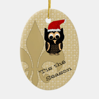 Cute Santa Owl Fleur de Lis Christmas Ceramic Ornament