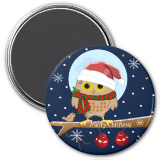 Cute Santa Owl with custom text Magnet