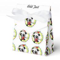 Cute Santa Panda Bear with Bag of Toys Favor Box