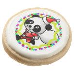 Cute Santa Panda Bear with Bag of Toys Round Premium Shortbread Cookie