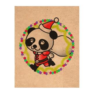 Cute Santa Panda Bear with Bag of Toys Cork Paper Prints