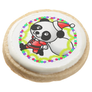 Cute Santa Panda Bear with Bag of Toys Round Shortbread Cookie