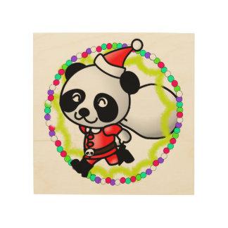 Cute Santa Panda Bear with Bag of Toys Wood Print