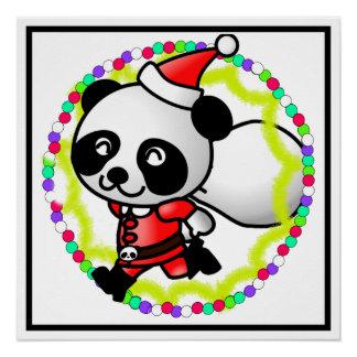 Cute Santa Panda Bear with Bag of Toys Perfect Poster