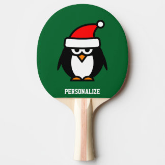 Cute Santa penguin cartoon ping pong paddle