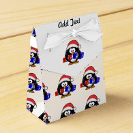 Cute Santa Penguin With Gifts Favor Boxes