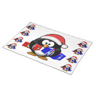Cute Santa Penguin With Gifts Place Mat