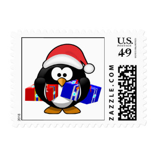Cute Santa Penguin With Gifts Postage Stamp