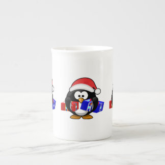 Cute Santa Penguin With Gifts Porcelain Mugs