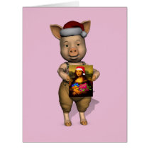 Cute Santa Piggie Showing Personalizable Image