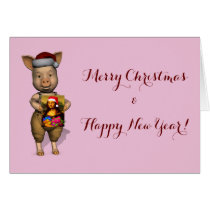 Cute Santa Piggie Showing Personalizable Image Card