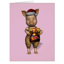 Cute Santa Piggie Showing Personalizable Image Card