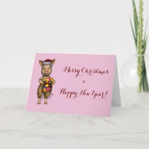 Cute Santa Piggie Showing Personalizable Image Holiday Card